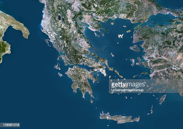 Satellite view of Greece This image was compiled from data acquired by LANDSAT 5 7 satellites Greece Europe True Colour Satellite Image With Border