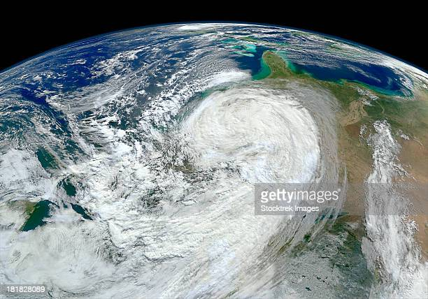 Satellite view of Hurricane Sandy along the East Coast of the United States.