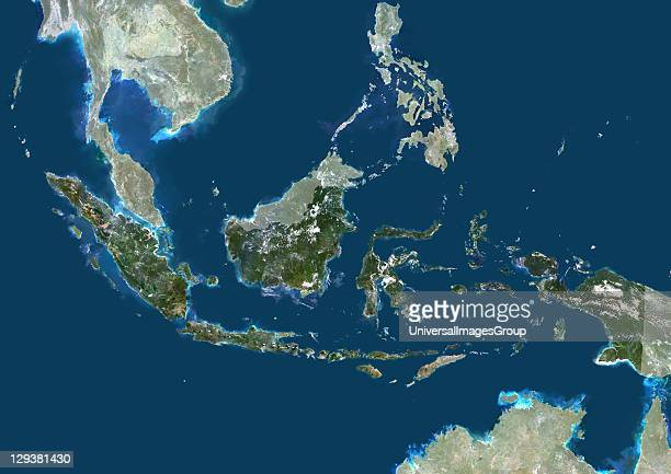 Satellite view of Indonesia This image was compiled from data acquired by LANDSAT 5 7 satellites Indonesia Asia True Colour Satellite Image With Mask