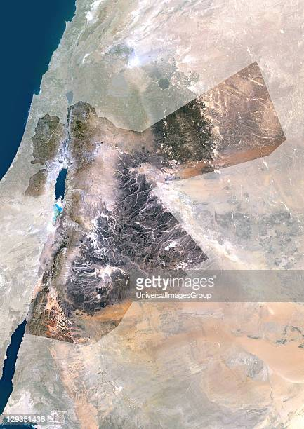 Satellite view of Jordan This image was compiled from data acquired by LANDSAT 5 7 satellites Jordan Middle East Asia True Colour Satellite Image...