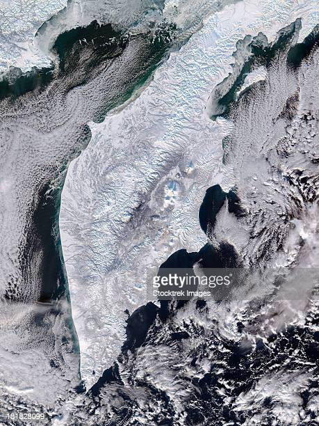 Satellite view of Kamchatka Peninsula, Eastern Russia.