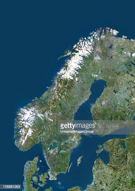 Satellite view of Norway This image was compiled from data acquired by LANDSAT 5 7 satellites Norway Europe True Colour Satellite Image With Border