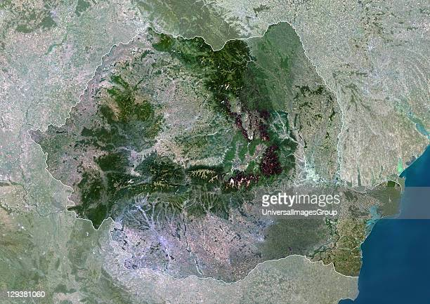 Satellite view of Romania This image was compiled from data acquired by LANDSAT 5 7 satellites Romania Europe True Colour Satellite Image With Border...