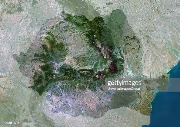 Satellite view of Romania This image was compiled from data acquired by LANDSAT 5 7 satellites Romania Europe True Colour Satellite Image With Mask
