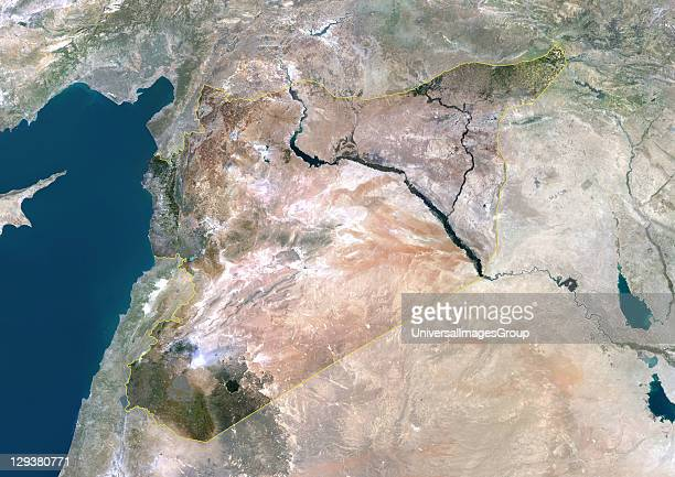 Satellite view of Syria This image was compiled from data acquired by LANDSAT 5 7 satellites Syria Middle East Asia True Colour Satellite Image With...