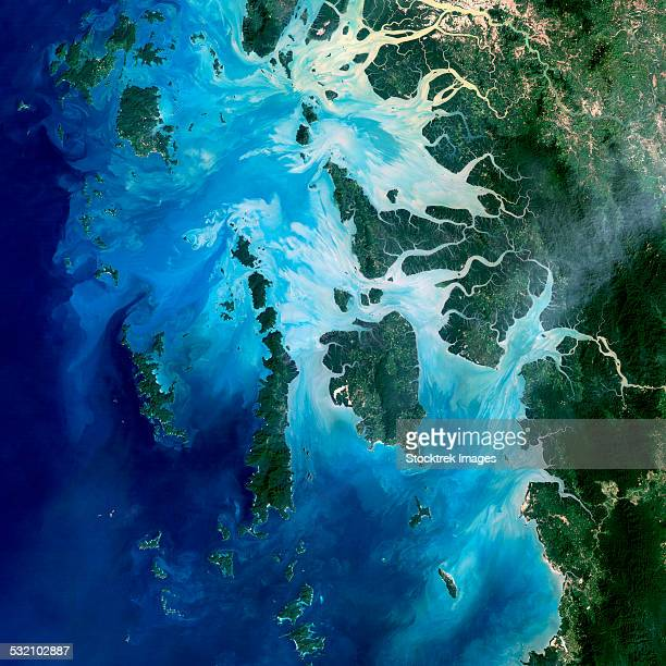 Satellite view of the Mergui Archipelago showing Auckland and Whale Bays.