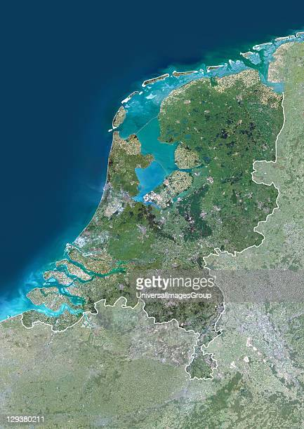 Satellite view of the Netherlands This image was compiled from data acquired by LANDSAT 5 7 satellites Netherlands Europe True Colour Satellite Image...
