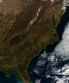 Satellite view of the Southeastern United States.