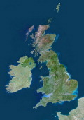 Satellite view of the United Kingdom This image was compiled from data acquired by LANDSAT 5 7 satellites United Kingdom Europe True Colour Satellite...