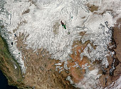 November 25, 2010 09/14/2009 Satellite view of the western United States. Snow decorates the ground from Californias Sierra range eastward throughout Nevada, Utah, and Colorado, ending at the front ra