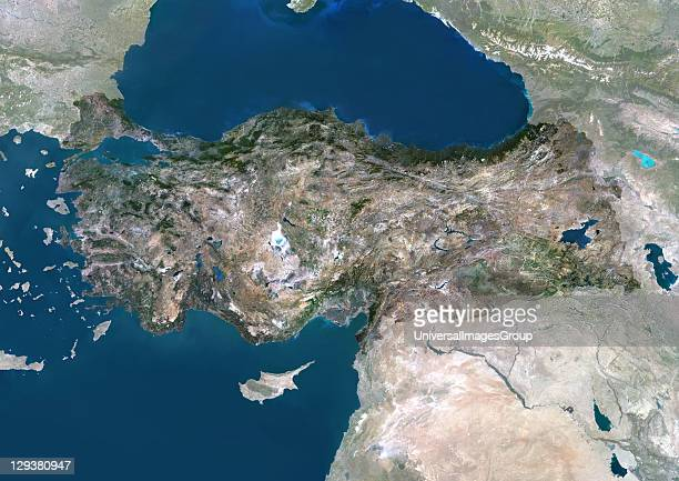 Satellite view of Turkey This image was compiled from data acquired by LANDSAT 5 7 satellites Turkey Asia True Colour Satellite Image With Mask