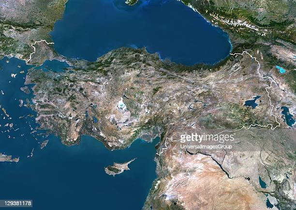 Satellite view of Turkey This image was compiled from data acquired by LANDSAT 5 7 satellites Turkey Asia True Colour Satellite Image With Border