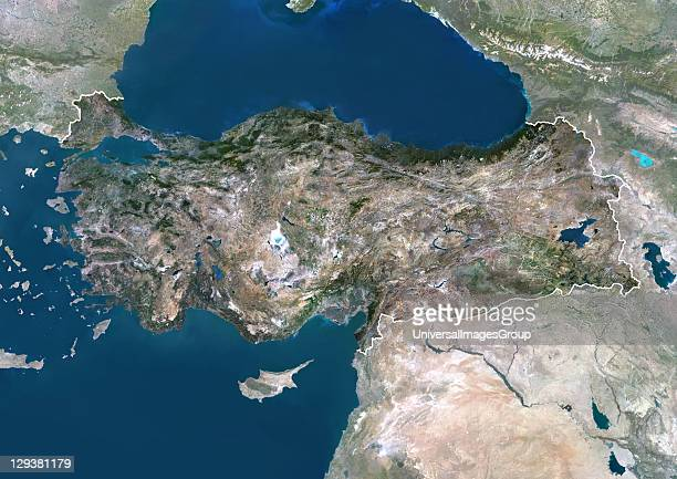 Satellite view of Turkey This image was compiled from data acquired by LANDSAT 5 7 satellites Turkey Asia True Colour Satellite Image With Border And...