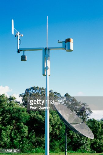 Satellite weather station and dish : Stock Photo