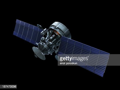A Satellite With Blue Solar Panels On A Black Background