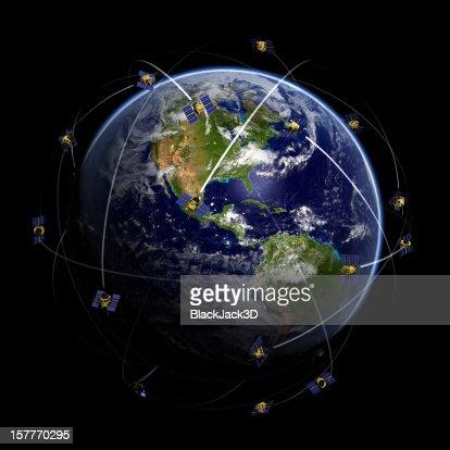 Satellites over world globe monitoring GPS localization