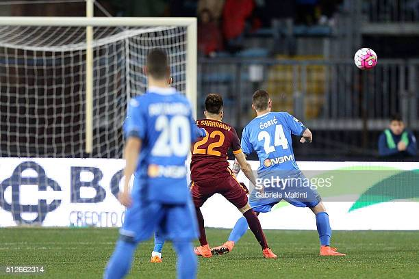 SAtephan El Shaarawy of AS Roma scores the opening goal during the Serie A match between Empoli FC and AS Roma at Stadio Carlo Castellani on February...