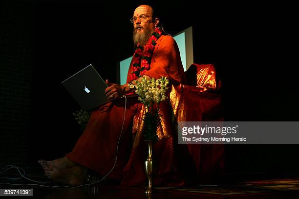 Satguru Bodhinatha Veylanswami who speaks to his followers with the aid of a powerpoint display and an Apple ibook will speak tin Sydney on the...