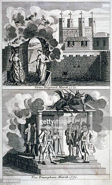 Satire 1771 A satire relating to the imprisonment in the Tower of London of the Lord Mayor Brass Crosby and Alderman Oliver titled 'Virtue disgraced'...
