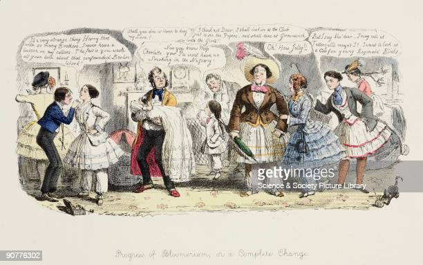 Satirical cartoon attacking the fashion for women to wear bloomers Role reversal is taken to extreme lengths men are left holding babies and an...