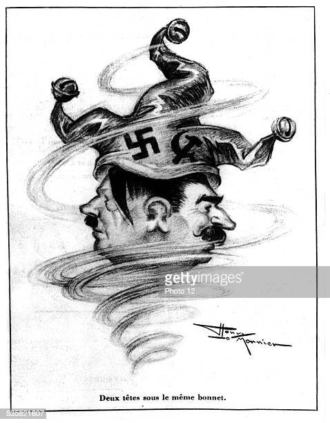 Satirical cartoon by Henri Le Monnier published in 'Marianne' two heads under the same cap Hitler and Stalin December 13 France Second World War