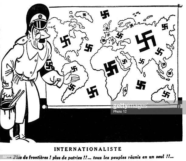 Satirical cartoon by Ralph Soupault against Hitler published in 'Candine' internationalist 'Tovaritch Adolf' November 1st France Second World War