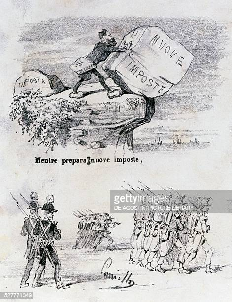 Satirical cartoon dedicated to Quintino Sella and the grist tax ca 1869 Italy 19th century
