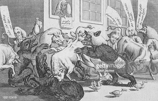 A satirical cartoon depicting a chaotic stock exchange filled with animals 1770 It is entitled 'A scene in Change Alley among the Bulls Bears Lame...