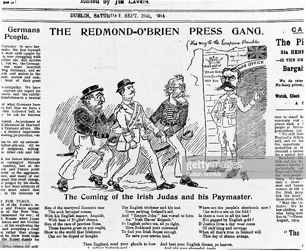 A satirical cartoon from the The Irish Worker newspaper entitled 'The RedmondO'Brien Press Gang' The illustration is accompanied by a poem and...
