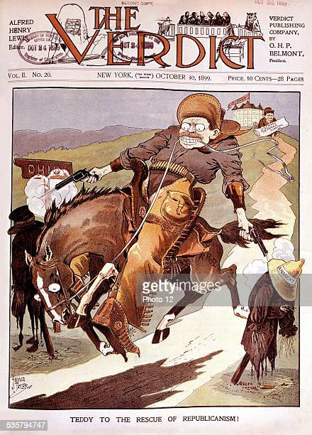 Satirical cartoon in 'The Verdict' Theodore Roosevelt the cursed cowboy United States Washington Library of Congress