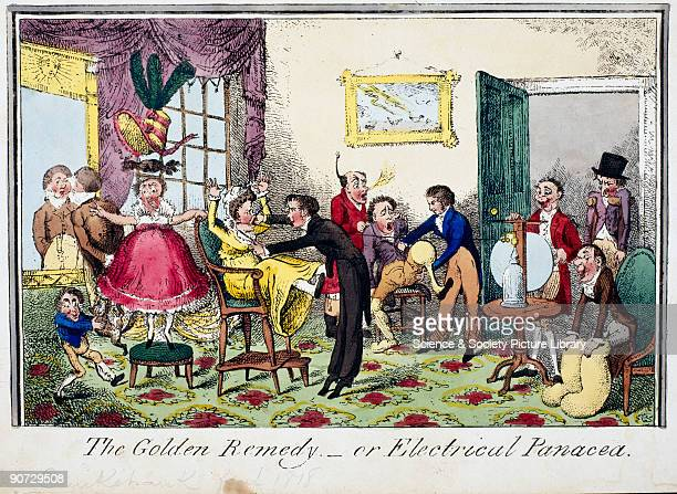 Satirical colour etching by George Cruikshank showing a doctor administering the new electrical shock treatment thought to cure hysteria and other...