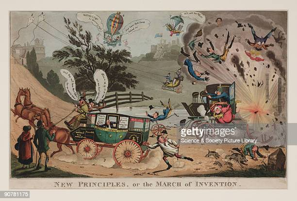 Satirical coloured aquatint showing an exploding steamdriven carriage hurtling its passengers midair and startling the passengers of a horsedrawn...