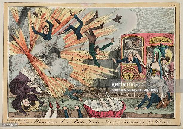 Satirical coloured etching by Henry Hughes illustrating the dramatic effects of a boiler exploding during a railway journey In the early days of the...