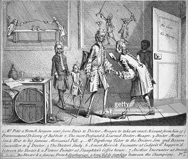 Satirical engraving by J Clark relating to the obstetrical imposture by Mary Toft of Guildford in 1726 showing a French surgeon Mr Petit calling on...