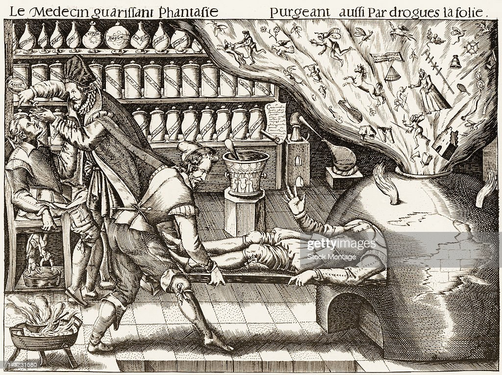 A satirical illustration entitled 'The Physician Curing Fantasy' depicts the artist's feelings about the medical treatments of the day late 1590s or...