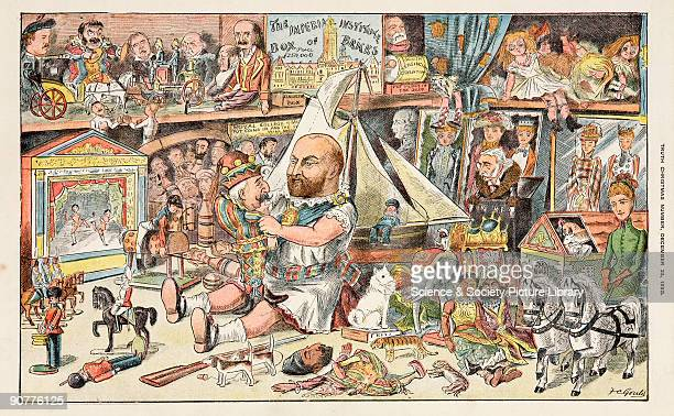 Satirical lithograph showing the Prince of Wales wearing children�s clothes surrounded by toys dolls and games including a working exhibit entitled...