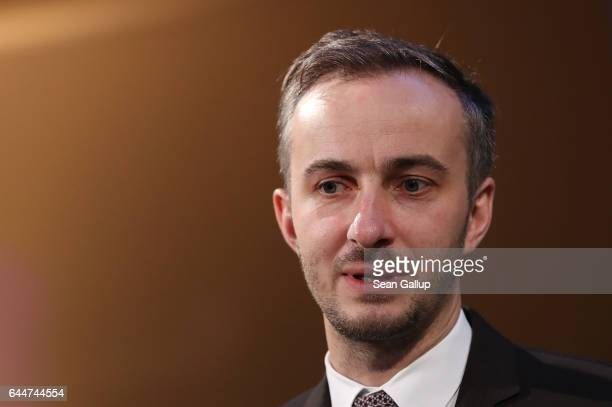 Satirist Jan Boehmermann speaks after receiving the award for ADC Honourary Member 2016 at the ADC Night of Honour 2017 on February 23 2017 in Berlin...