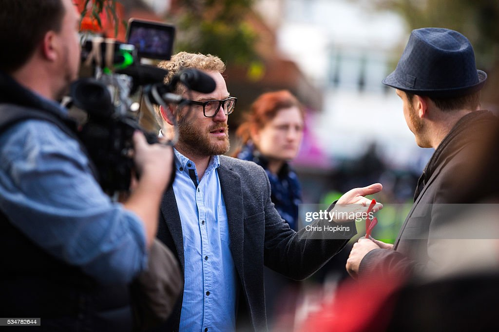 Satirist John Saffran interviews a left wing Anti-Racism protester on May 28, 2016 in Melbourne, Australia. Violence erupted when participants in a 'Say No To Racism' rally protesting the forced closure of Aboriginal communities, off-shore detention centres and Islamophobia met with a counter 'Anti-Islam' rally organised by the True Blue Crew and backed by the United Patriots Front.