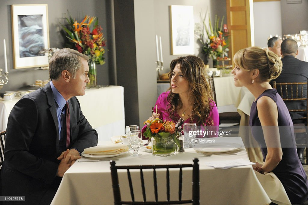LEGAL -- 'Satisfaction' Episode 201 -- Pictured: (l-r) Mark Moses as Robert Mahoney, Sarah Shahi as Kate Reed, Virginia Williams as Lauren Reed --