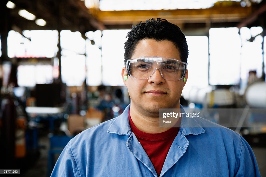 Satisfied Factory Worker : Stock Photo