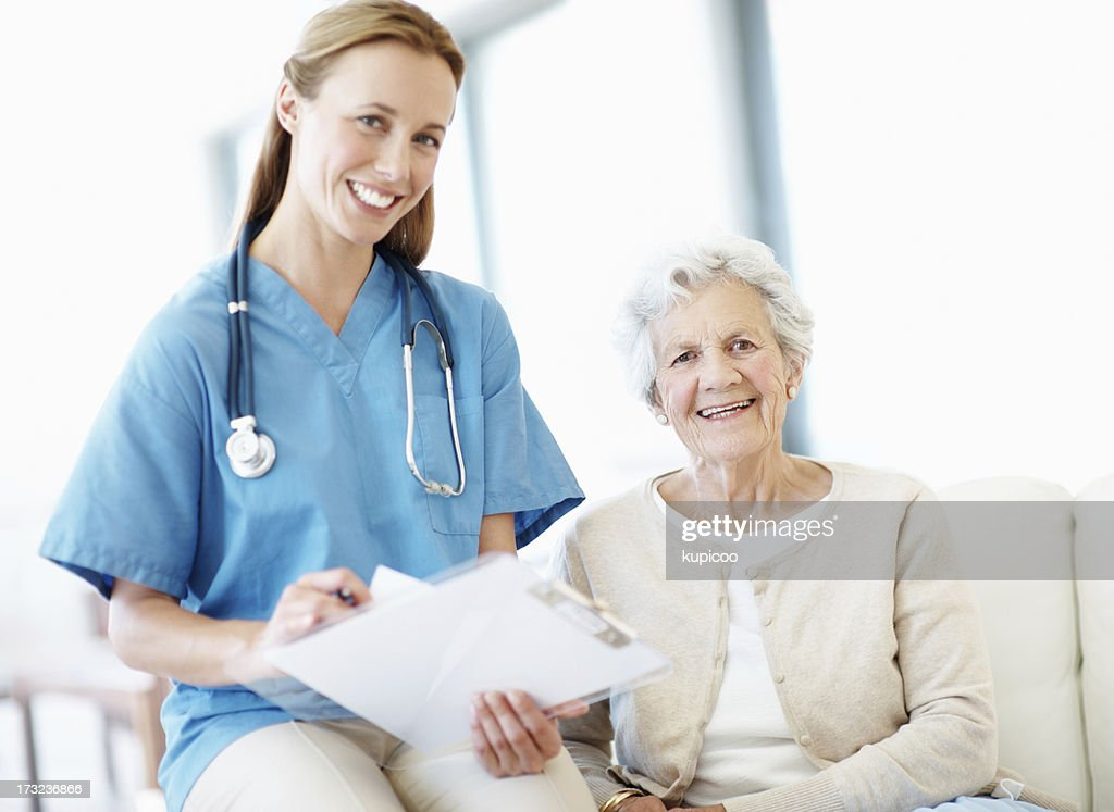 Satisfied with her health! : Stock Photo