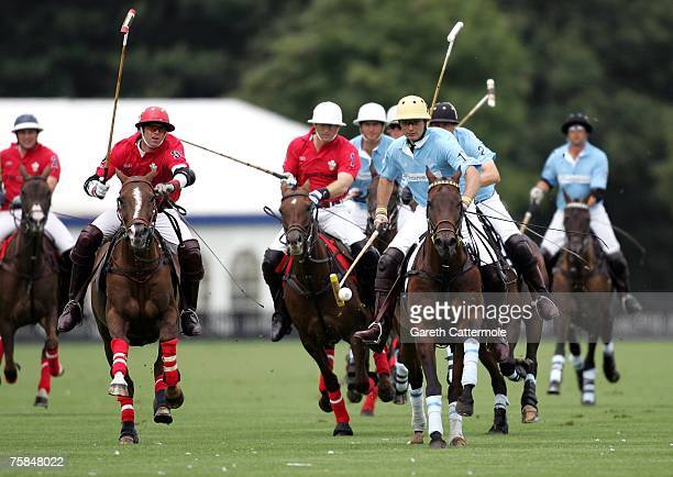 Satnam Dhillon of Hurlingham in action against the Prince of Wales team during Rock The Polo The Cartier International Polo Day at Guards Polo Club...