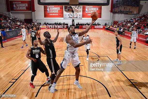 Satnam Singh of Dallas Mavericks goes for the lay up against the Milwaukee Bucks during the 2016 Las Vegas Summer League on July 13 2016 at the Cox...