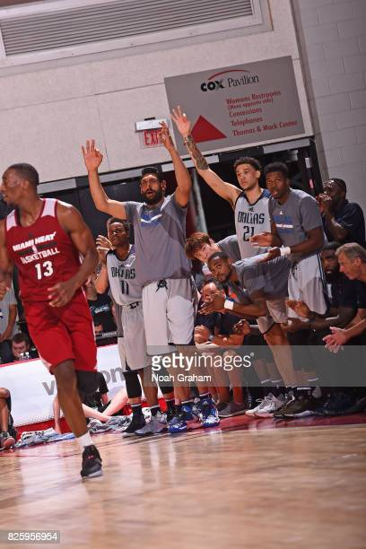 Satnam Singh of the Dallas Mavericks celebrates a three point basket from the bench during the 2017 Las Vegas Summer League game against the Miami...