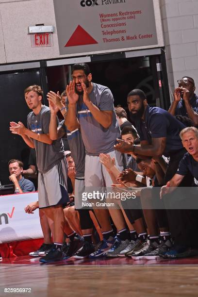 Satnam Singh of the Dallas Mavericks celebrates from the bench during the 2017 Las Vegas Summer League game against the Miami Heat on July 11 2017 at...