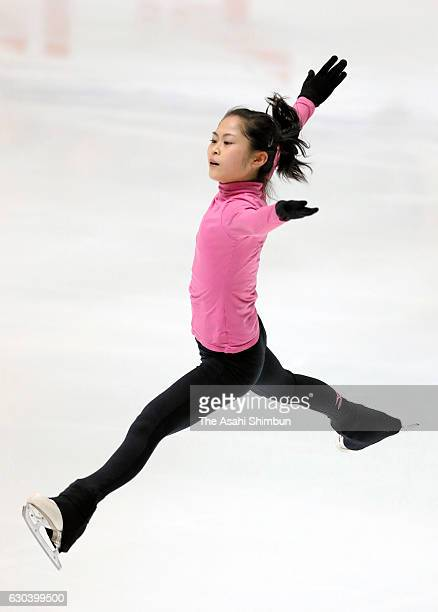 Satoko Miyahara in action during a practice session ahead of the 85th All Japan Figure Skating Championships at Towa Yakuhin RACTAB Dome on December...