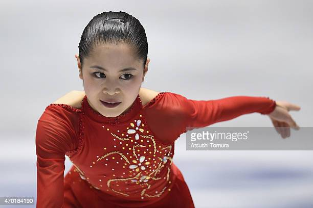 Satoko Miyahara of Japan compete in the ladies free skating during the day three of the ISU World Team Trophy at Yoyogi National Gymnasium on April...