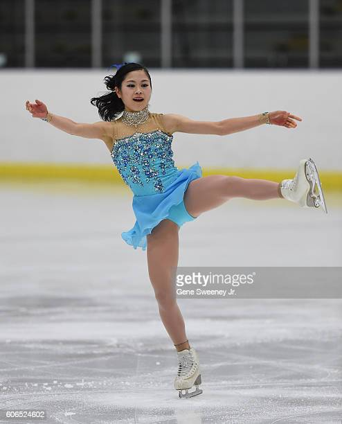 Satoko Miyahara of Japan competes in the ladies short program at the US International Figure Skating Classic Day 2 at the Salt Lake City Sports...