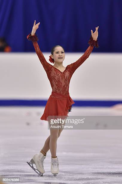 Satoko Miyahara of Japan competes in the ladies short program during the day two of the 2015 Japan Figure Skating Championships at the Makomanai Ice...