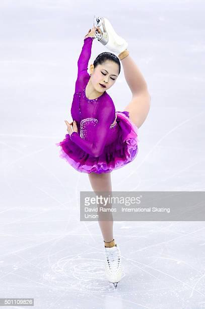 Satoko Miyahara of Japan during the Ladies Free program during day three of the ISU Grand Prix of Figure Skating Final 2015/2016 at the Barcelona...